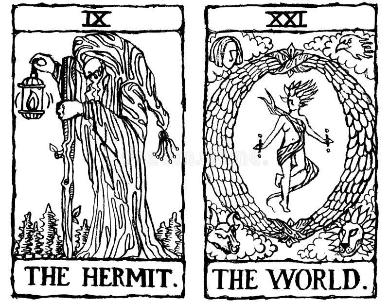 Esboço v.4 de dois cartões de Tarot ilustração stock