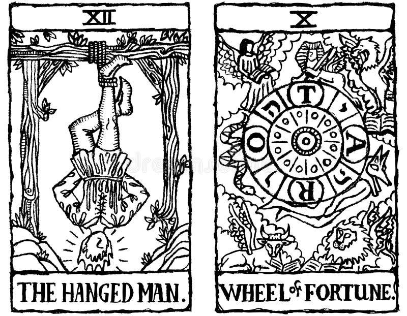 Esboço v.6 de dois cartões de Tarot ilustração royalty free