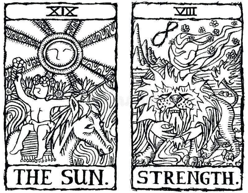 Esboço v.8 de dois cartões de Tarot ilustração do vetor