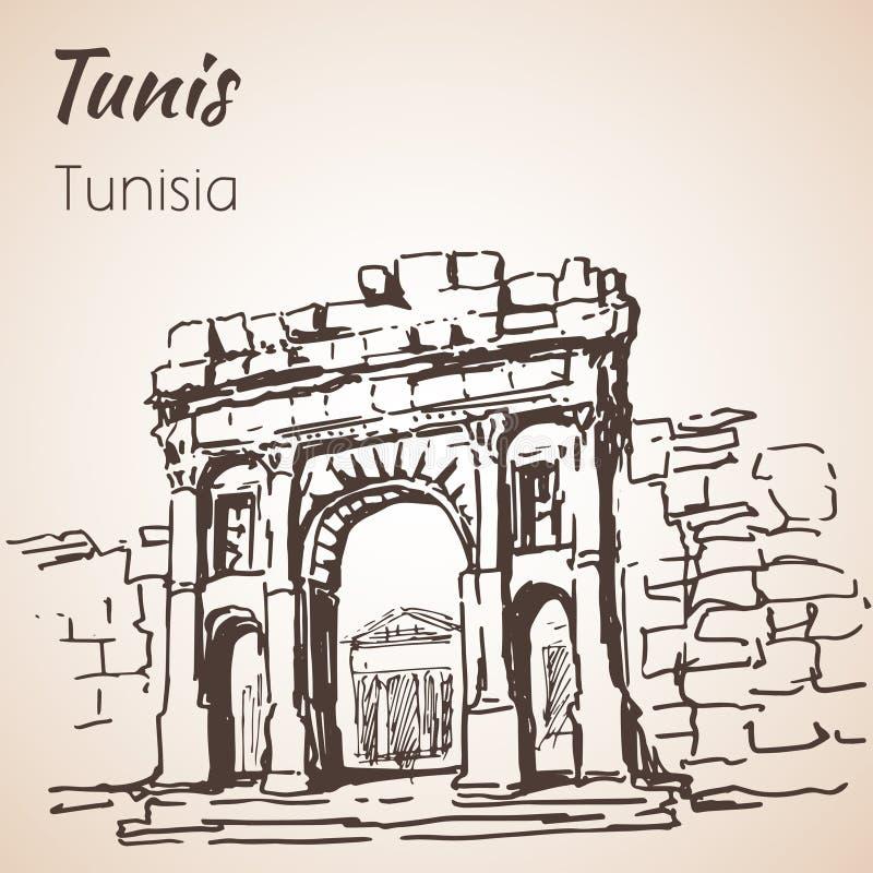 Esboço velho da arquitetura de Tunísia ilustração do vetor
