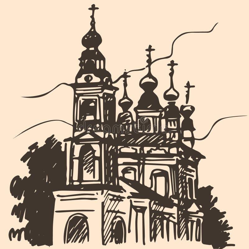 Esboço velho da igreja ilustração royalty free