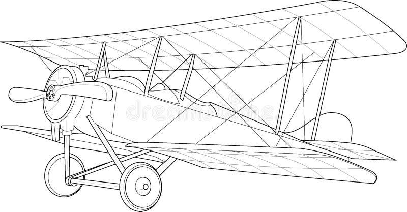 Esboço velho do biplano ilustração royalty free