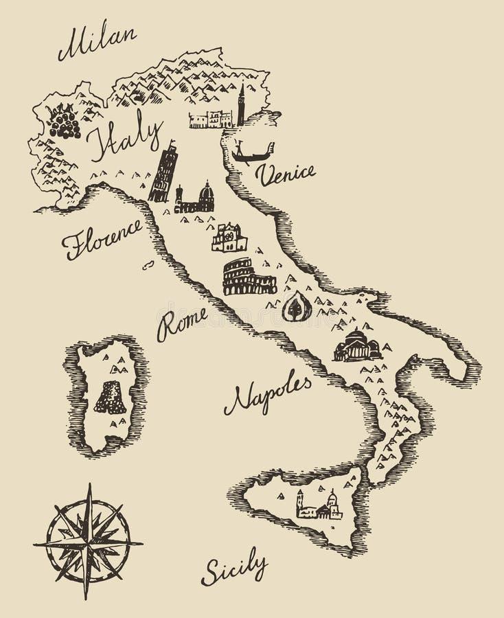Esboço velho italiano da ilustração do vetor do mapa ilustração stock