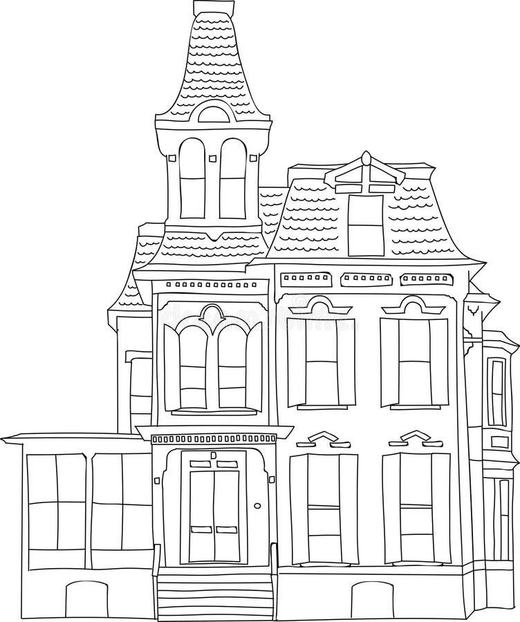 Esboço vitoriano velho do desenho da carta branca da casa ilustração stock