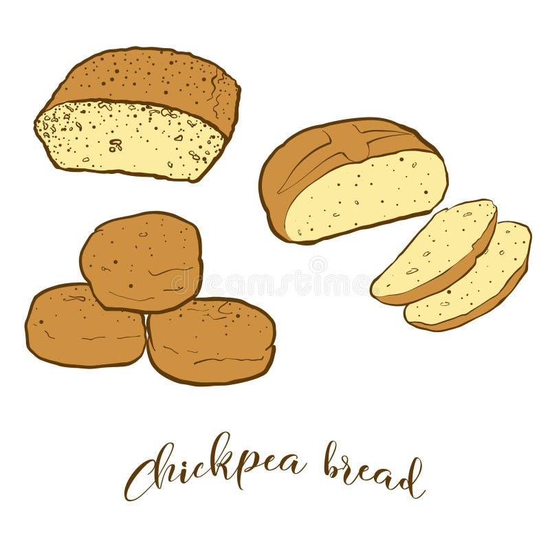 Esboços coloridos do pão do pão do grão-de-bico ilustração do vetor