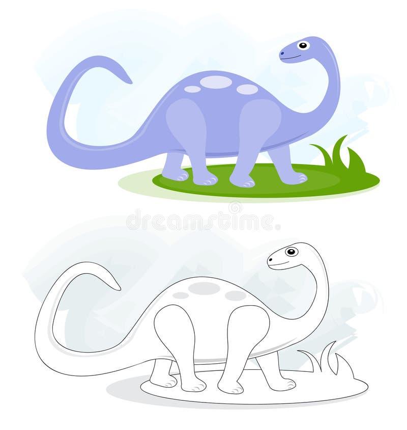 Esboços com dinossauro do brontosaurus ilustração do vetor