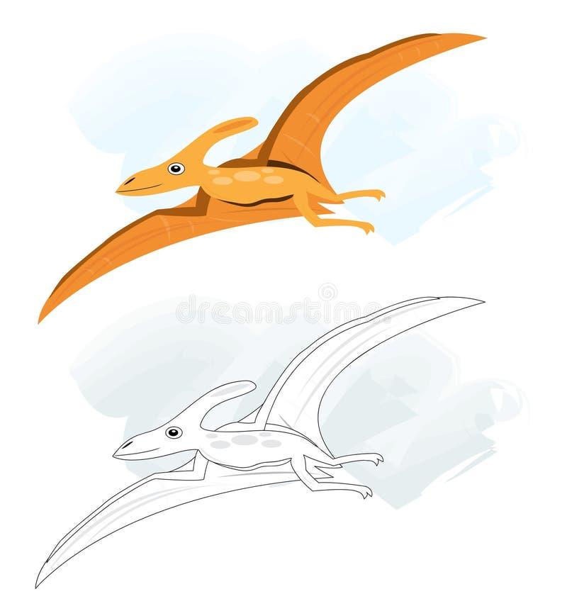 Esboços com dinossauro do pterodactyl ilustração do vetor