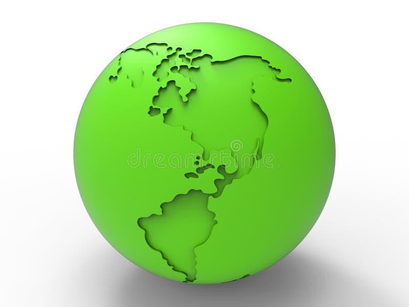 Esboços da água do globo da terra verde ilustração stock