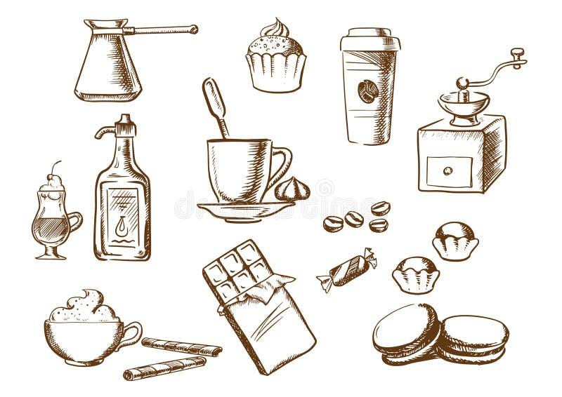 Esboços das bebidas, dos ingredientes e das sobremesas do café ilustração do vetor