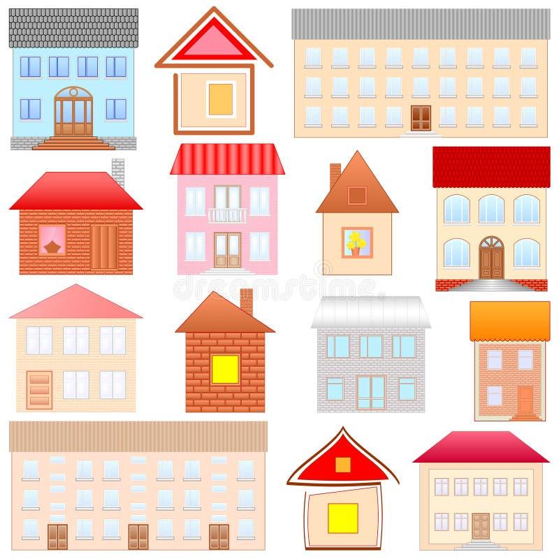 Esboços das casas ajustados ilustração do vetor