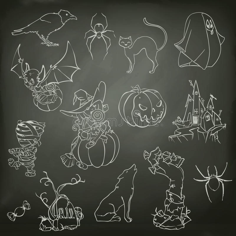 Esboços de Dia das Bruxas dos ícones ilustração stock
