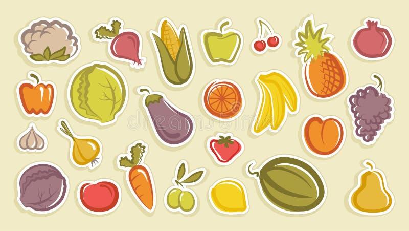 Esboços de etiquetas das frutas e legumes ilustração stock