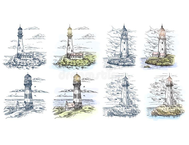 Esboços do farol para a bandeira do mar ou do oceano ilustração stock