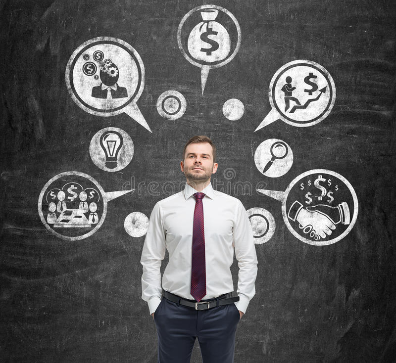 Esboços do homem de negócios e do dinheiro foto de stock