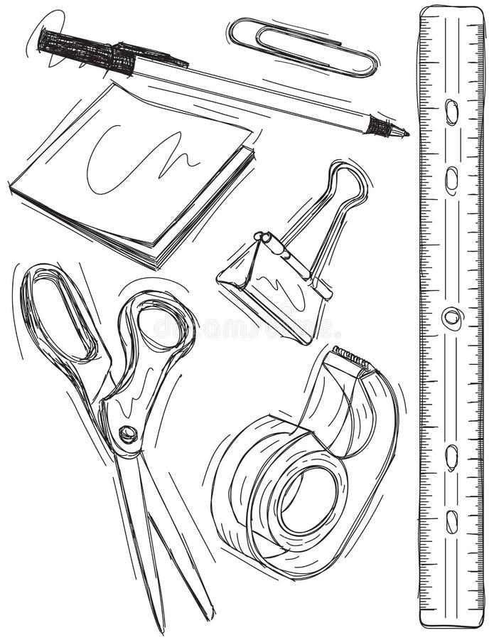 Esboços do material de escritório ilustração stock