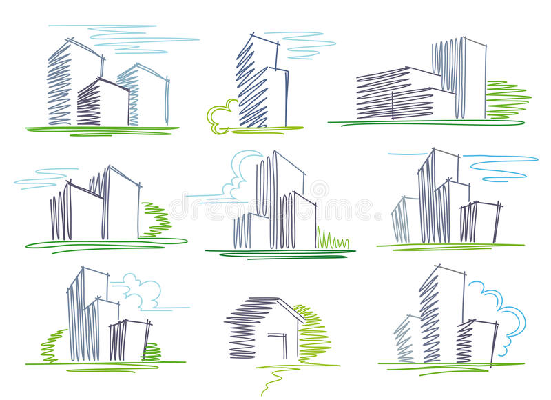 Esboços dos edifícios ilustração stock