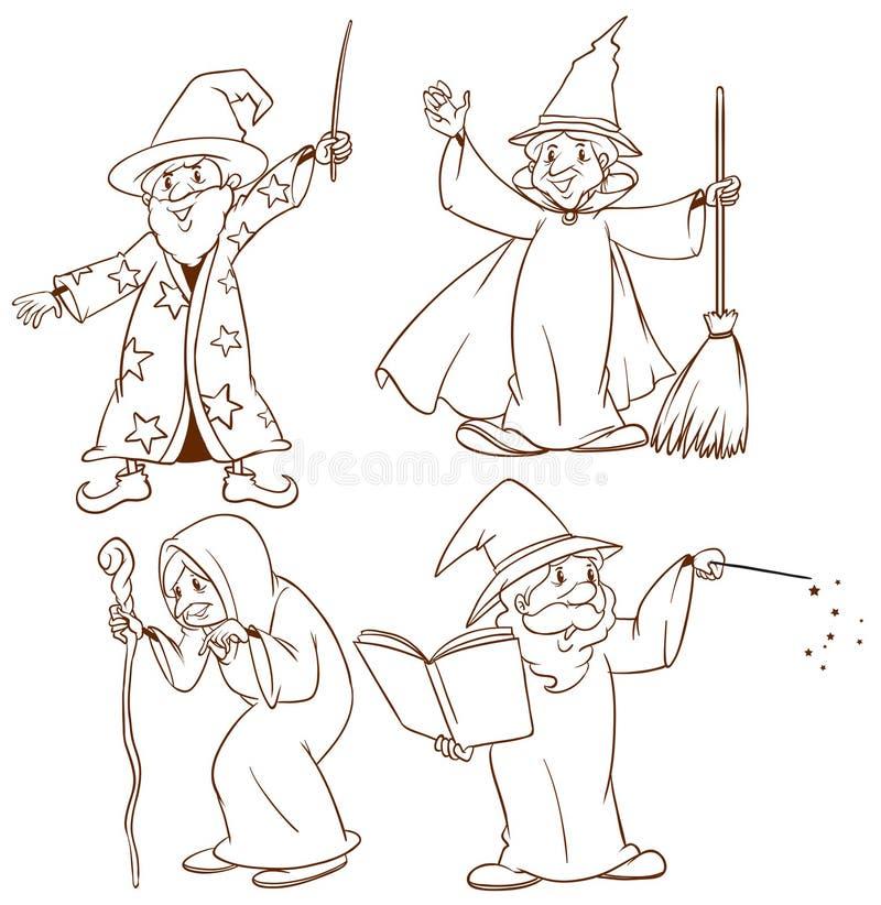 Esboços dos feiticeiros ilustração stock