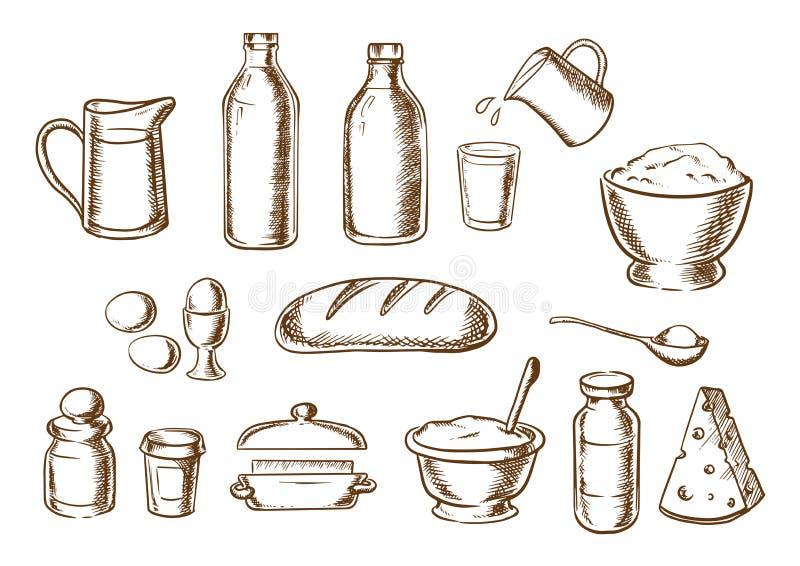 Esboços dos ingredientes da padaria e do pão ilustração stock