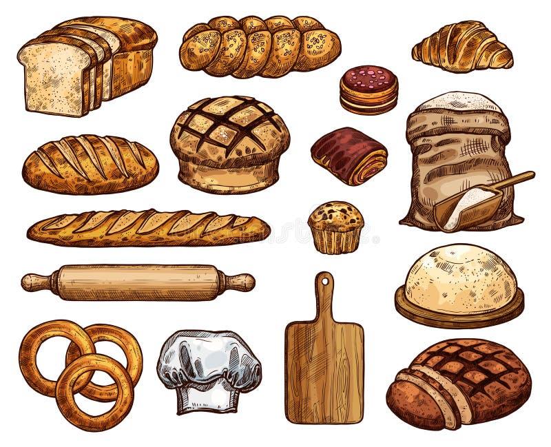 Esboços macios deliciosos frescos dos produtos da padaria ajustados ilustração do vetor