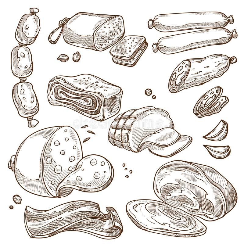 Esboços monocromáticos do sepia dos produtos e das salsichas de carne ajustados ilustração royalty free