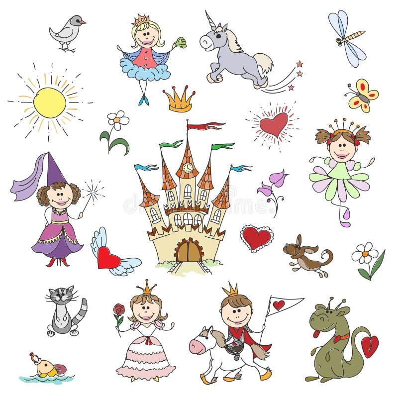 Esboços pequenos felizes das princesas ilustração do vetor