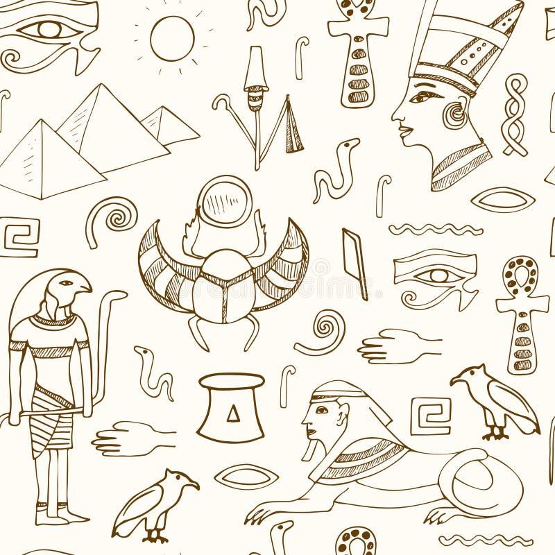 Esboços sem emenda do teste padrão dos símbolos de Egito ilustração do vetor