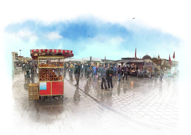 Esbo?o da aquarela Os Bagels para a venda no quadrado de Eminonu em Istambul, bagel turco chamaram SIMIT Alimento turco da rua ilustração do vetor