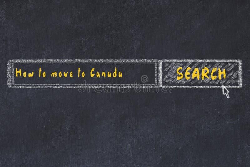 Esbo?o da placa de giz do Search Engine do Internet Procurando como mover-se para Canadá ilustração royalty free