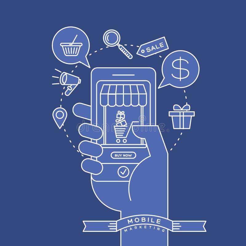 Esboce ícones e o telefone esperto à disposição com conceito digital do mercado ilustração do vetor
