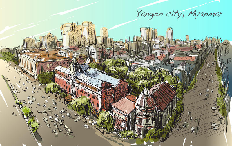 Esboce a arquitetura da cidade de Yangon, Myanmar na estrada da costa do topview ilustração stock