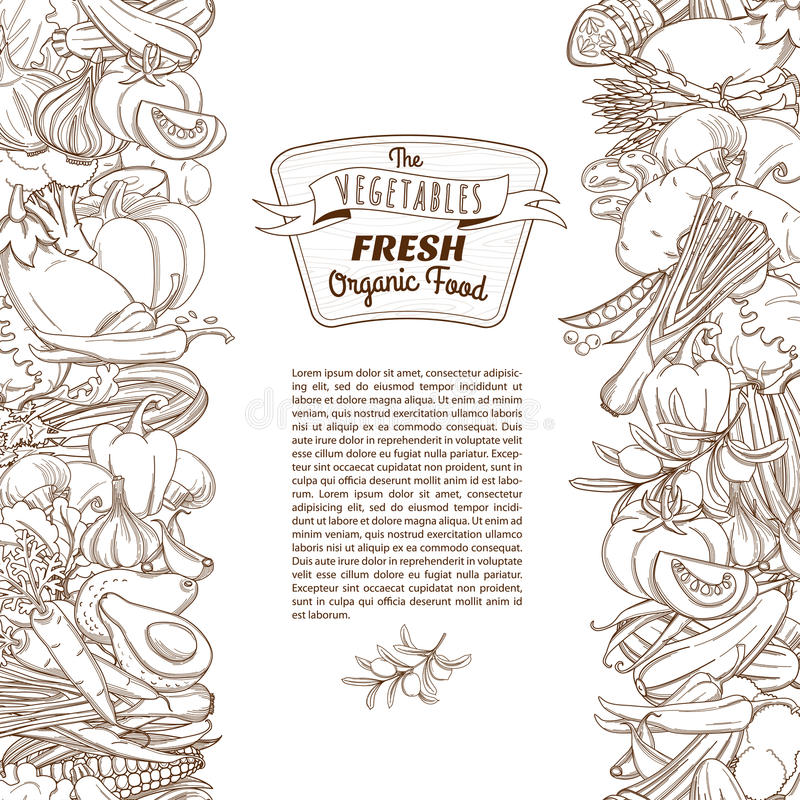 Esboce a beira vegetal sem emenda tirada mão do esboço (o estilo liso, ilustração royalty free