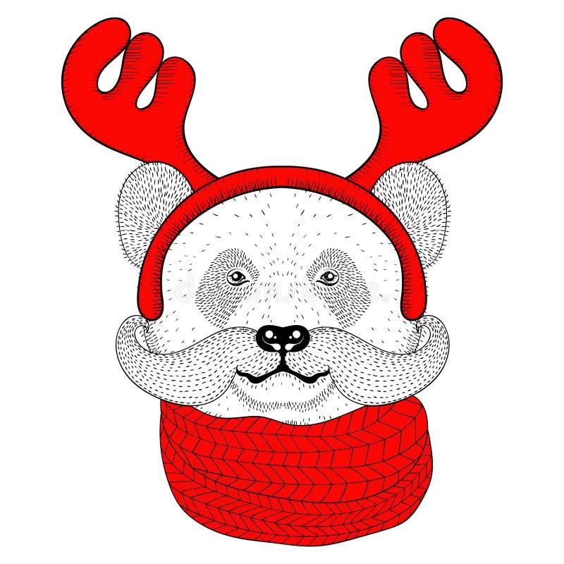 Esboce a cara da panda com o bigode nos chifres de uma rena ilustração stock
