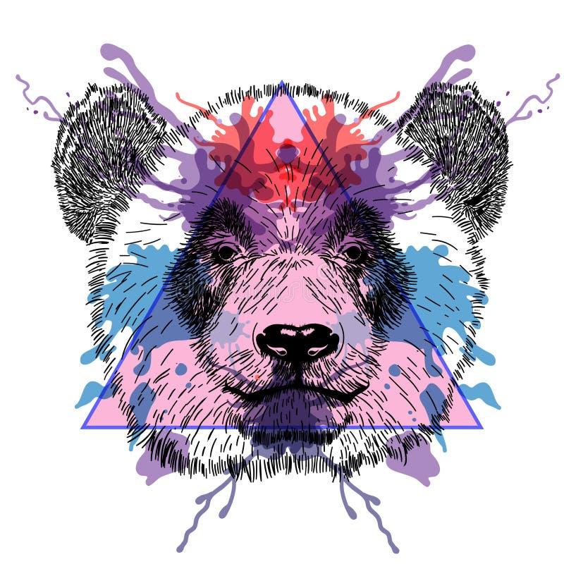 Esboce a cara da panda do moderno no quadro do triângulo com tinta da aquarela ilustração royalty free