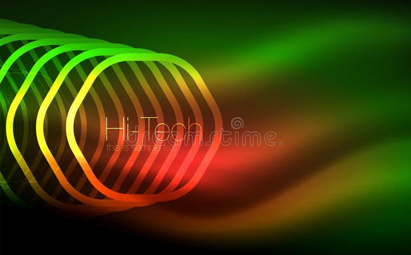 Esboce hexágonos, formas geométricas de incandescência, fundo digital do sumário do techno ilustração royalty free