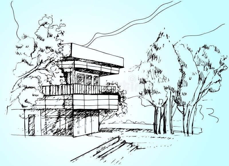Esboce a ilustração da casa da arquitetura ilustração stock