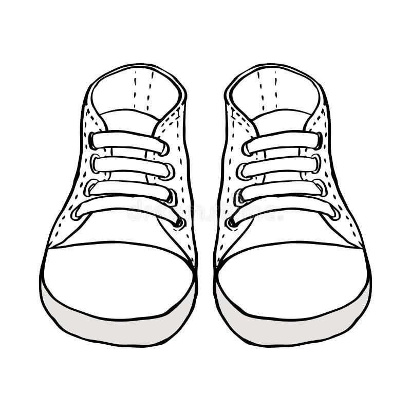 Esboce a ilustração das sapatas das crianças isoladas no branco ilustração stock