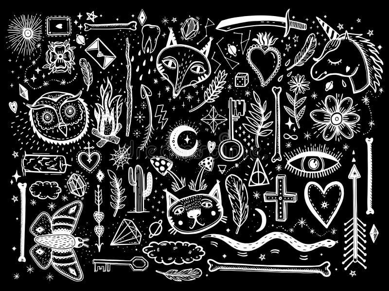 Esboce a ilustração gráfica com mão místico e oculto grupo grande tirado dos símbolos Vector a ilustração do feriado para o dia d ilustração stock
