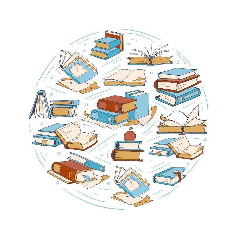 Esboce livros de desenho da garatuja, biblioteca, logotipo do vetor do clube de leitura ilustração do vetor