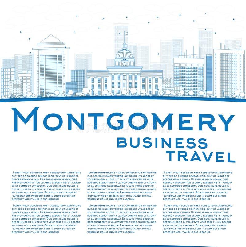 Esboce Montgomery Skyline com construções azuis e copie o espaço ilustração stock