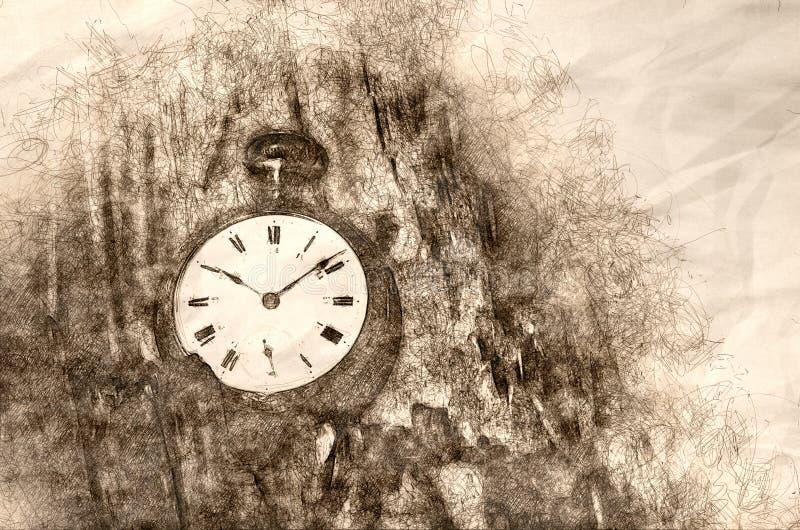 Esboce mostrar que é toda sobre a passagem do tempo ilustração do vetor
