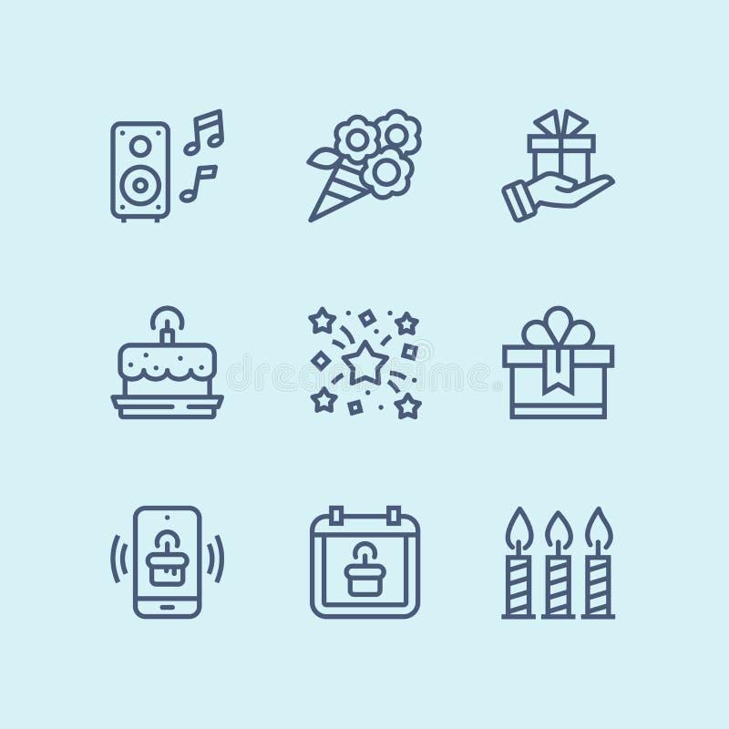 Esboce o aniversário, o evento, ícones simples do vetor da celebração para a Web e o bloco móvel 5 do projeto ilustração do vetor