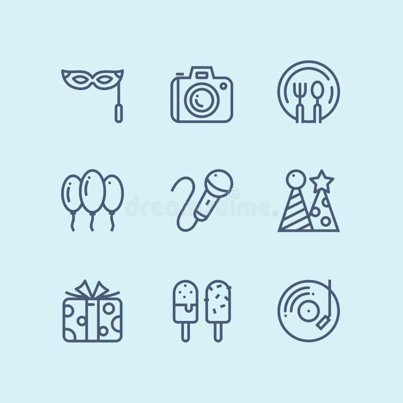 Esboce o aniversário, o evento, ícones simples do vetor da celebração para a Web e o bloco móvel 4 do projeto ilustração stock