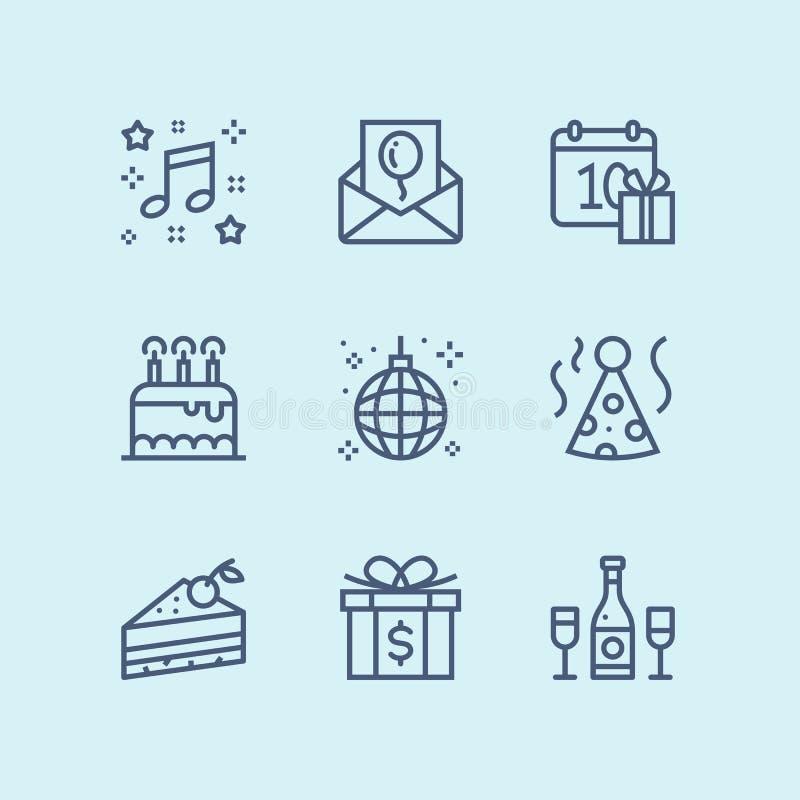 Esboce o aniversário, o evento, ícones simples do vetor da celebração para a Web e o bloco móvel 3 do projeto ilustração do vetor