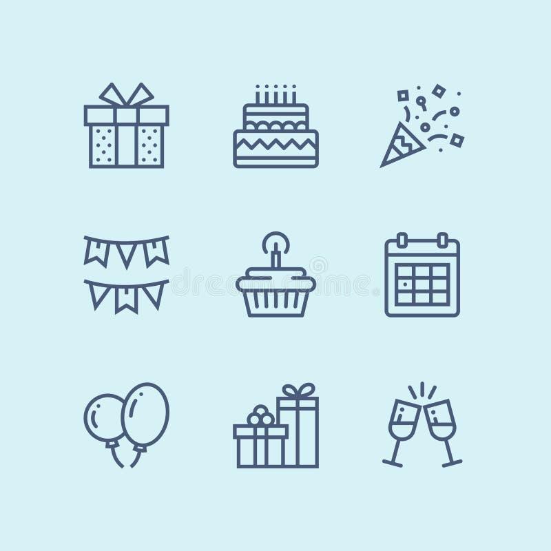 Esboce o aniversário, o evento, ícones simples do vetor da celebração para a Web e o bloco móvel 1 do projeto ilustração do vetor
