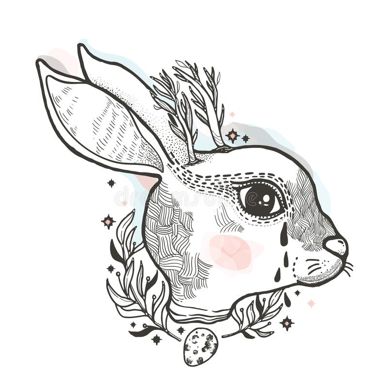 Esboce o coelho gráfico da ilustração com mão místico e oculto símbolos tirados Ilustração do vetor Conce astrológico e esotérico ilustração stock