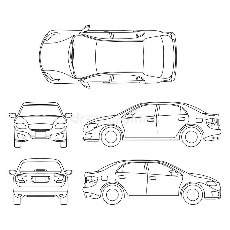 Esboce o desenho do vetor do carro do sedan no ponto de vista diferente ilustração stock