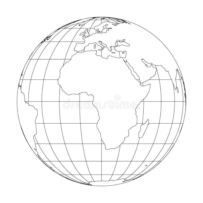 Esboce o globo da terra com o mapa do mundo focalizado em África Ilustração do vetor ilustração royalty free