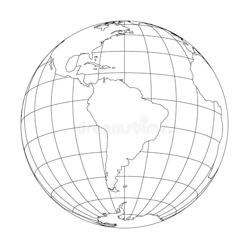 Esboce o globo da terra com o mapa do mundo focalizado em Ámérica do Sul Ilustração do vetor ilustração stock