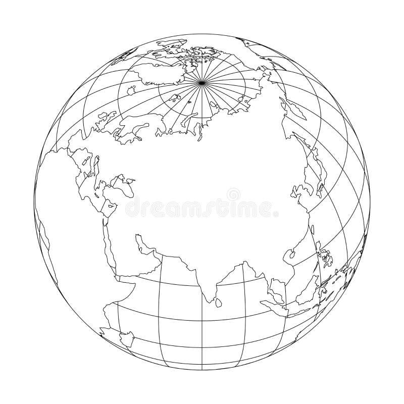 Esboce o globo da terra com o mapa do mundo focalizado em Ásia Ilustração do vetor ilustração do vetor