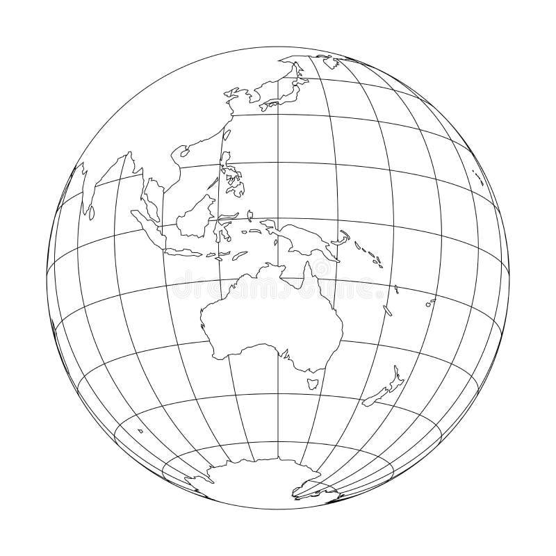Esboce o globo da terra com o mapa do mundo focalizado em Austrália e em Oceania Ilustração do vetor ilustração stock